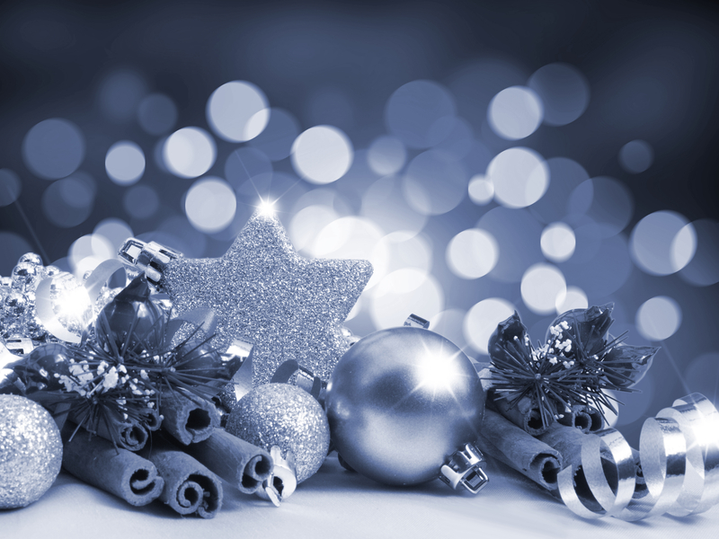 Christmas decorations on a blurred lights background